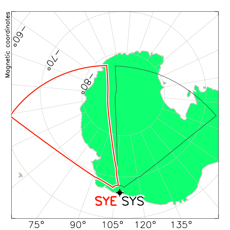 Syowa East Radar Field of View Map